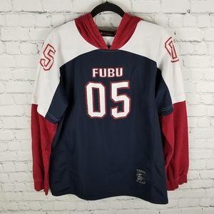 FUBU   long sleeve mock jersey-hoodie shirt
